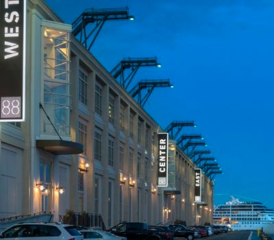 Exterior lit bade signage for 88 Black Falcon in Boston Massachusetts