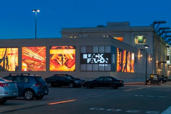 Exterior lit signage for 88 Black Falcon in Boston Massachusetts