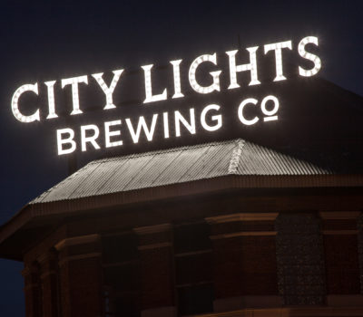 Exterior lit letters for City Lights Brewing in Milwaukee Wisconsin