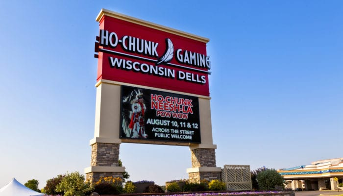 Exterior lit pylon sign for Ho-Chunk Gaming in Wisconsin Dells Wisconsin