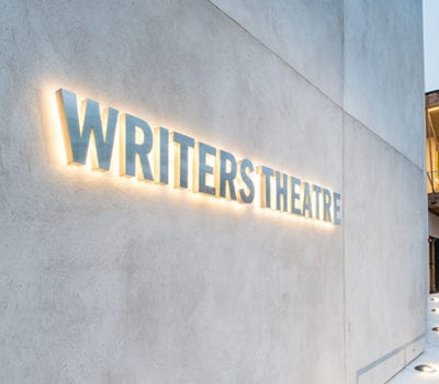 Exterior lit sign for Writers Theatre in Glencoe Illinois