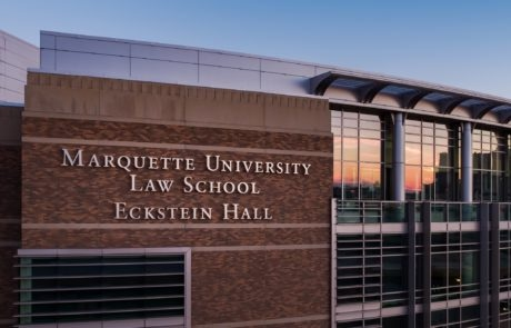 Exterior lit channel letters for Marquette University Law School Eckstein Hall in Milwaukee Wisconsin
