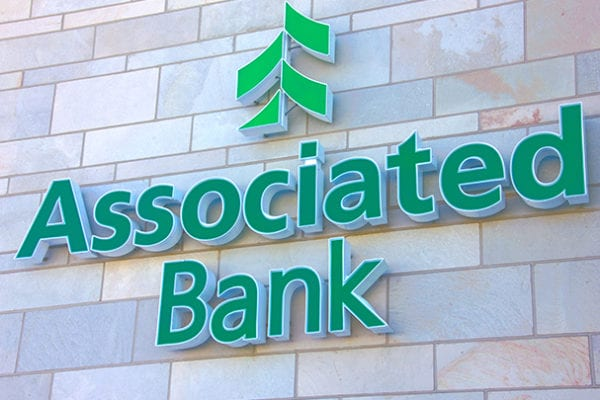 Exterior face lit channel letters for Associated Bank in downtown Milwaukee Wisconsin