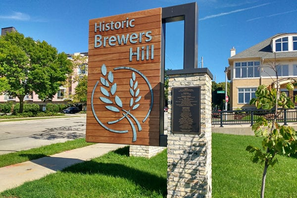 Exterior sign for Brewers Hill in Milwaukee Wisconsin