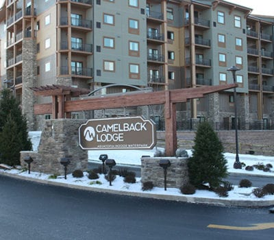 Exterior sign for Camelback Lodge in the Poconos in Pennsylvania
