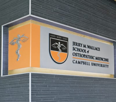 Interior signage for Campbell University in Buies Creek North Carolinda