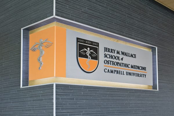 Interior signage for Campbell University in Buies Creek North Carolinda