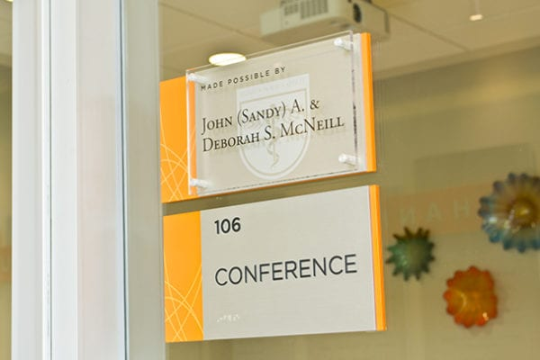 Interior donor recognition signage for Campbell University in Buies Creek North Carolinda