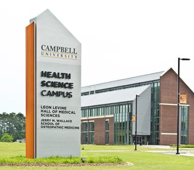 Exterior lit pylon signage for Campbell University in Buies Creek North Carolinda