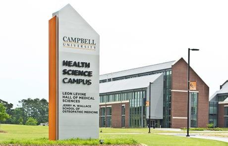 Exterior lit pylon signage for Campbell University in Buies Creek North Carolinda