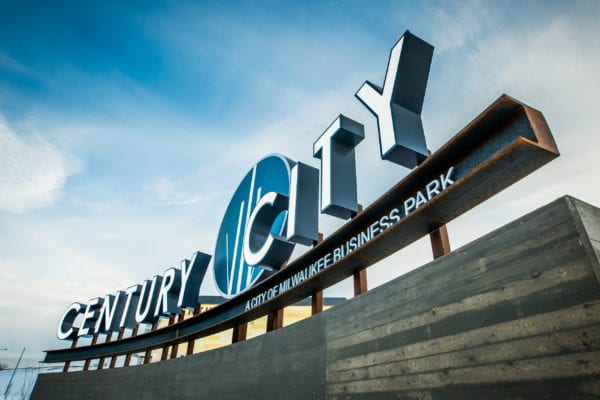 Exterior Award-winning sign for Century City Business Park in Milwaukee Wisconsin