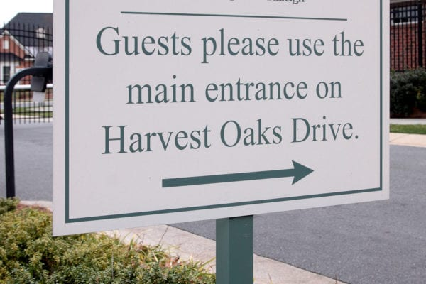 Exterior directional sign for the Cypress of Raleigh in Raleigh North Carolina
