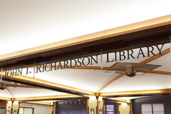 Interior sign for The Theatre School at DePaul University,