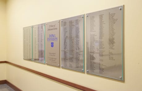 Interior donor recognition wall for The Theatre School at DePaul University,