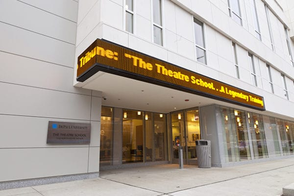 Exterior digital sign for The Theatre School at DePaul University,