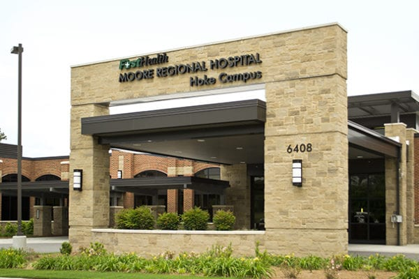 Exterior lit channel letters for FirstHealth Moore Regional Hospital in Hoke County North Carolina