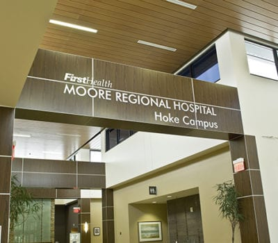 Interior sign for FirstHealth Moore Regional Hospital in Hoke County North Carolina