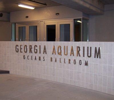 Interior dimensional letters for Georgia Aquarium in Atlanta Georgia