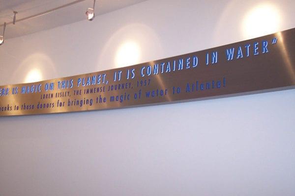 Interior sign for Georgia Aquarium in Atlanta Georgia