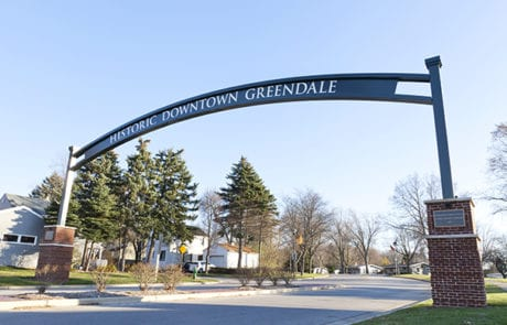 Exterior archway for City of Greendale in Greendale Wisconsin