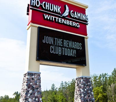Exterior lit pylon sign for Ho-Chunk Gaming in Wittenberg Wisconsin
