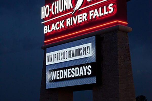 Exterior lit pylon sign for Ho-Chunk Gaming in Black River Falls Wisconsin