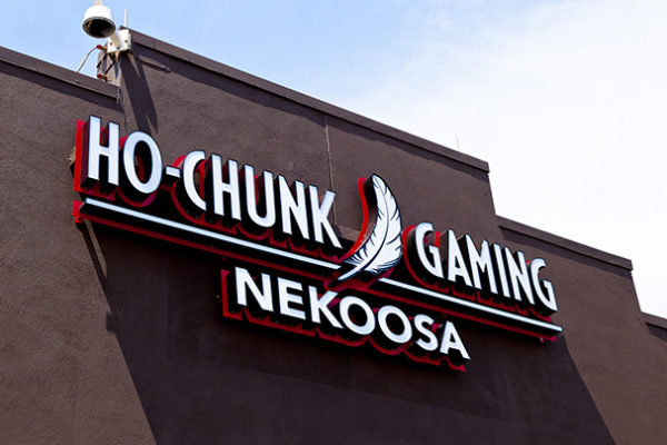 Exterior lit pylon sign for Ho-Chunk Gaming in Nekoosa Wisconsin