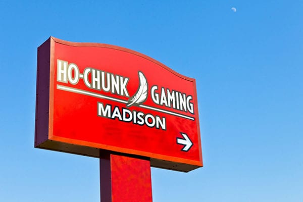 Exterior lit pylon sign for Ho-Chunk Gaming in Madison Wisconsin
