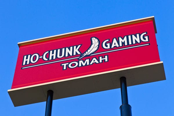 Exterior lit pylon sign for Ho-Chunk Gaming in Tomah Wisconsin