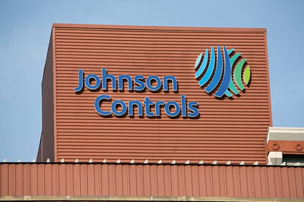 Exterior channel letters and logo sign for Johnson Controls in Milwaukee Wisconsin