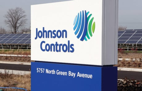 Exterior monument sign for Johnson Controls in Milwaukee Wisconsin