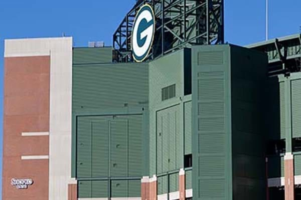 Exterior sign for Lambeau Field in Green Bay Wisconsin for the Green Bay Packers