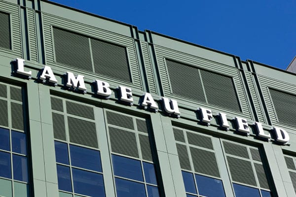 Exterior lit channel letters for Lambeau Field in Green Bay Wisconsin for the Green Bay Packers
