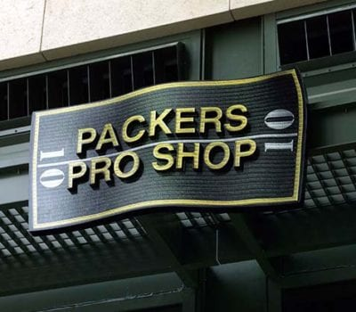 Exterior signage for Lambeau Field in Green Bay Wisconsin for the Green Bay Packers