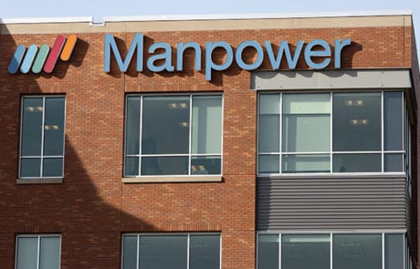 Exterior channel letters for Manpower in Milwaukee Wisconsin