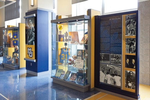 Interior display case for Marquette University in Milwaukee Wisconsin
