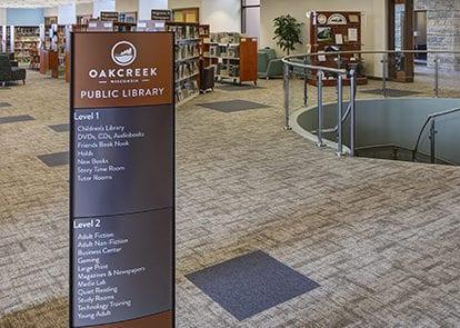 Interior directory sign for Oak Creek Library in Oak Creek Wisconsin