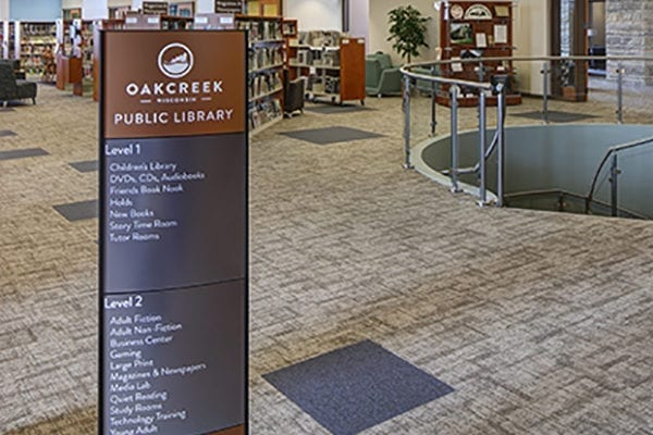 Interior directory sign for Oak Creek Library in Oak Creek Wisconsin