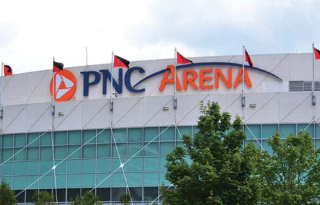 Exterior channel letters and logo for PNC Arena in Raleigh North Carolina