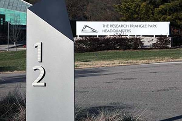 Exterior directional sign for RTP Research Triangle Park in Durham North Carolina