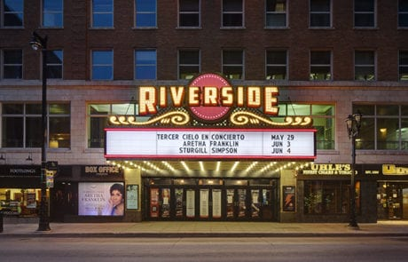 Exterior lit digital theater sign for Riverside Theater in Milwaukee Wisconsin