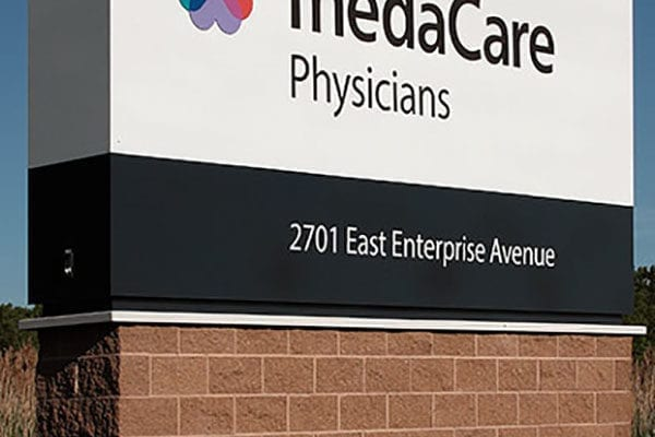 Exterior monument sign for Thedacare in Wisconsin