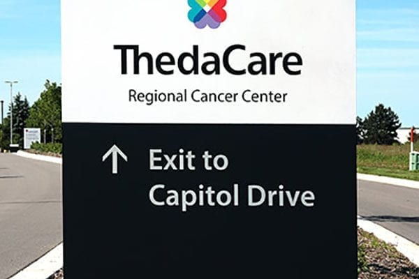 Exterior directional sign for Thedacare in Wisconsin