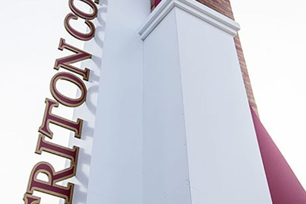 Exterior entrance sign for Triton College in River Grove Illinois