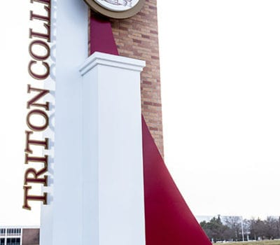 Exterior entrance sign for Triton College in River Grove Illinois