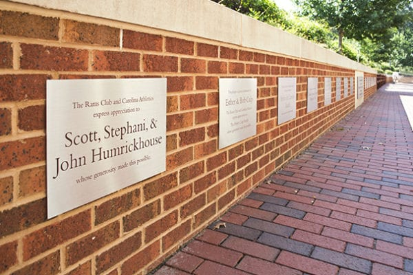 Exterior donor recognition plaques for UNC-Kenan Stadium in Chapel Hill North Carolina