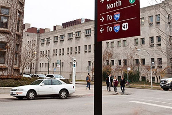 Exterior directional sign for University of Chicago in Chicago Illinois