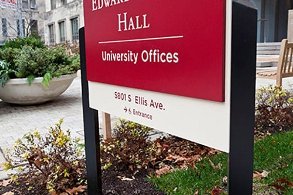 Exterior post and panel sign for University of Chicago in Chicago Illinois