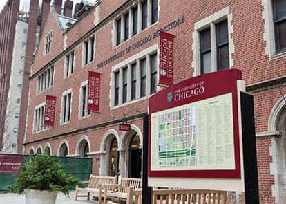 Exterior signage for University of Chicago in Chicago Illinois