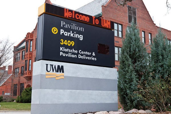 Exterior lit digital parking monument sign for UWM in Milwaukee Wisconsin